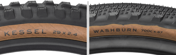 Closeup side by side views of the tire hotpatch labels on the Teravail Kessel and Washburn tires