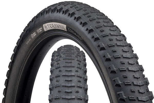 Teravail Coronado tire with views of tread pattern and sidewall with hotpatch