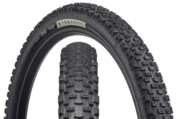 Teravail Honcho Tire with views of tread pattern and sidewall with hotpatch