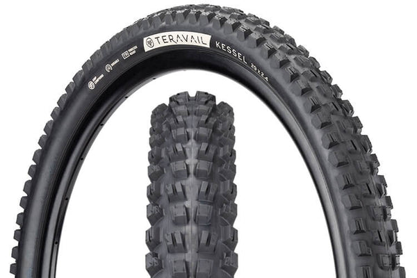 Teravail Kessel Tire with views of tread pattern and sidewall with hotpatch