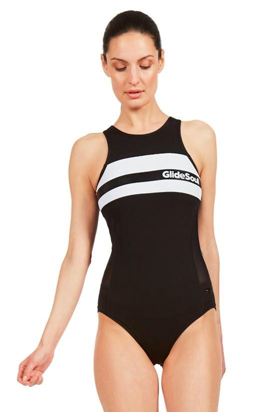 Essential Round Neck Back Zip One Piece Swimsuit
