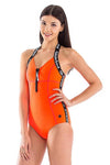 Signature Halter Neck Front Zip One Piece Swimsuit