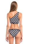 Vibrant Stripes One Shoulder Bikini Top