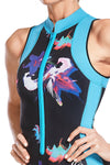 Bloom High Neck Front Zip One Piece Swimsuit