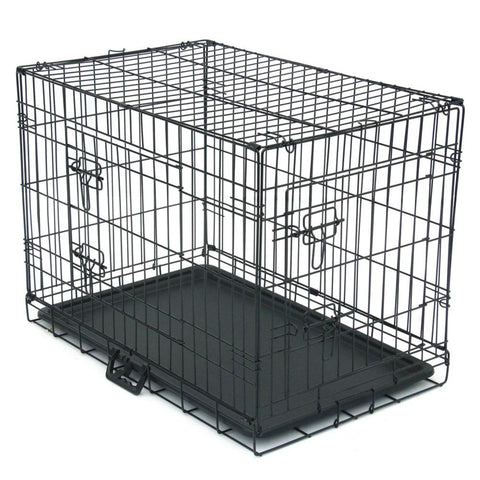 30*19*22cm Pet Kennel Cat Dog Folding Steel Crate Animal Playpen Wire Metal Cage Dog Cage Pet Puppy Crate House Cage With Tray