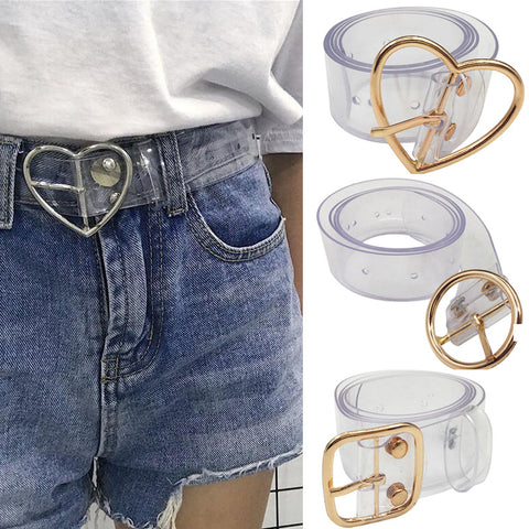 Fashion Transparent Women Belt Laser Holographic Clear Pin Buckle wide Waist Bands Waistband Invisible Punk Waist Belt 2019