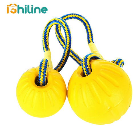 Teeth Indestructible Bite Rubber Puppy Funny Training Ball Chew Toys Play Fetch Solid With Carrier Rope Pet Dog
