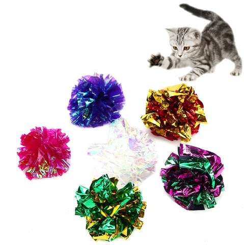 1PC Cat Ring Paper Ball Crumpled Attract Cat Attention Cat Toy Color Paper Ball Cat Toy Pet Supplies 4-5cm Random Colors