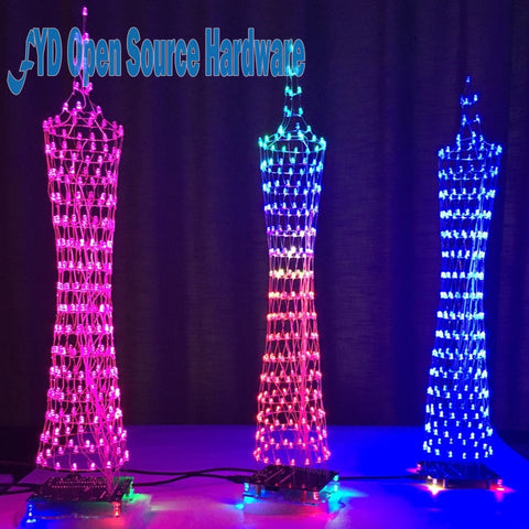 Colorful LED Tower Display Lamp Infrared Remote Control Electronic DIY Kits Music Spectrum Soldering Kits DIY Brain-training Toy