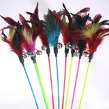 1PCS Hot Sale Cat Toys Make A Cat Stick Feather With Small Bell Natural Like Birds Random Color Black Coloured Pole