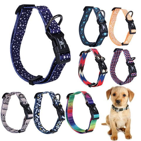 19 Colors Adjustable Rainbow Nylon Strap Dog Collar For Small And Big Pet Dogs Collars SML