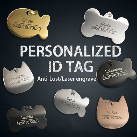 Personalized Dog Tag Stainless Steel Name Engraved ID Tags For Dog Collar Anti-Lost Pet Nameplate Pendant For Pitbull Labrador