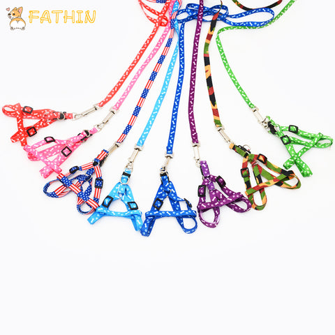 FATHIN Hot Sale Pet Dog Leash Traction Rope Pet Harness Dog Collar for Small Medium Dogs 10 color