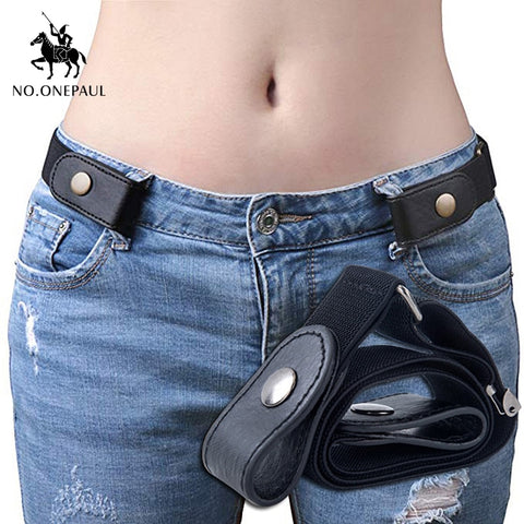 NO.ONEPAUL jeans women's punk style buckle-free belt dress ladies slim sports trend comfortable elastic new no buckle belt