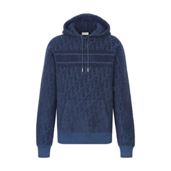 BLUE OBLIQUE JACQUARD COTTON TERRY HOODIE