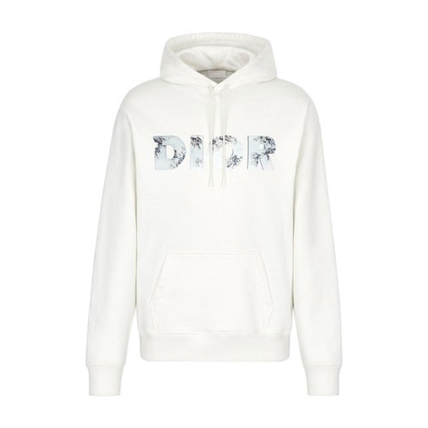 OFF-WHITE MOLTON COTTON HOODIE WITH DIOR X DANIEL ARSHAM ERODED LOGO 3D PRINT