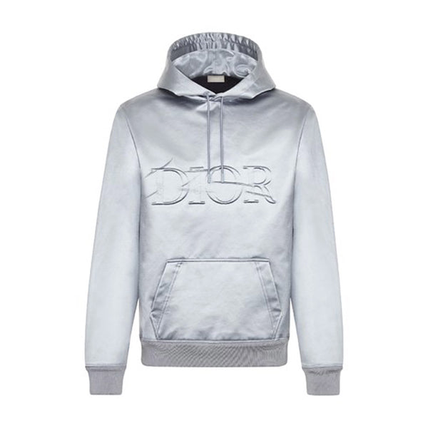 GRAY SATIN HOODIE WITH DIOR X DANIEL ARSHAM PLEATED LOGO