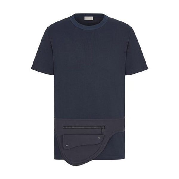 NAVY BLUE COMPACT COTTON T-SHIRT WITH BUILT-IN SADDLE POCKET BAG