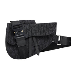 BLACK DIOR OBLIQUE SADDLE BAG