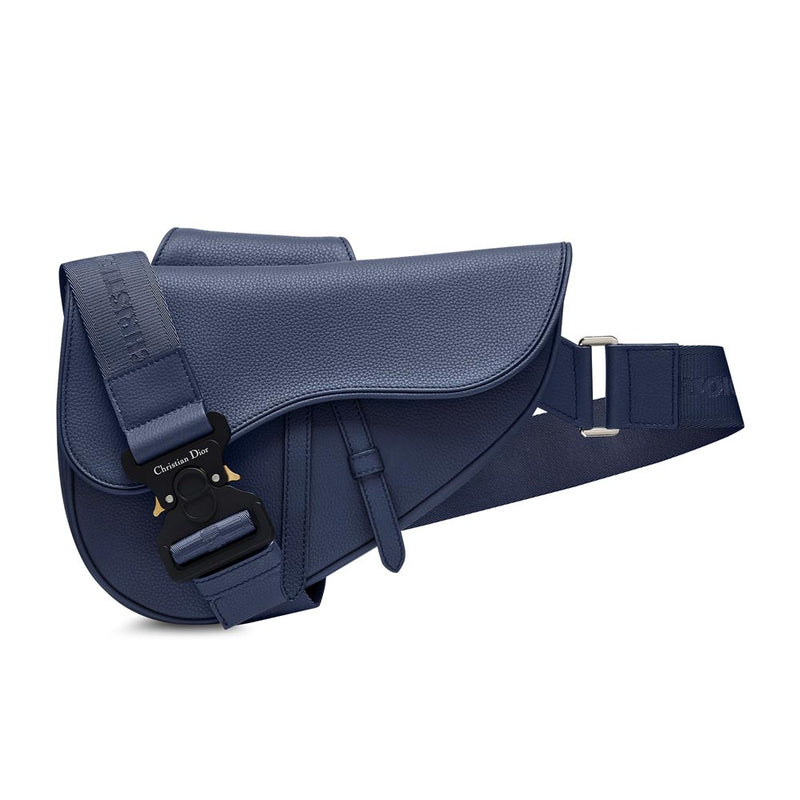 BLUE GRAINED CALFSKIN SADDLE BAG