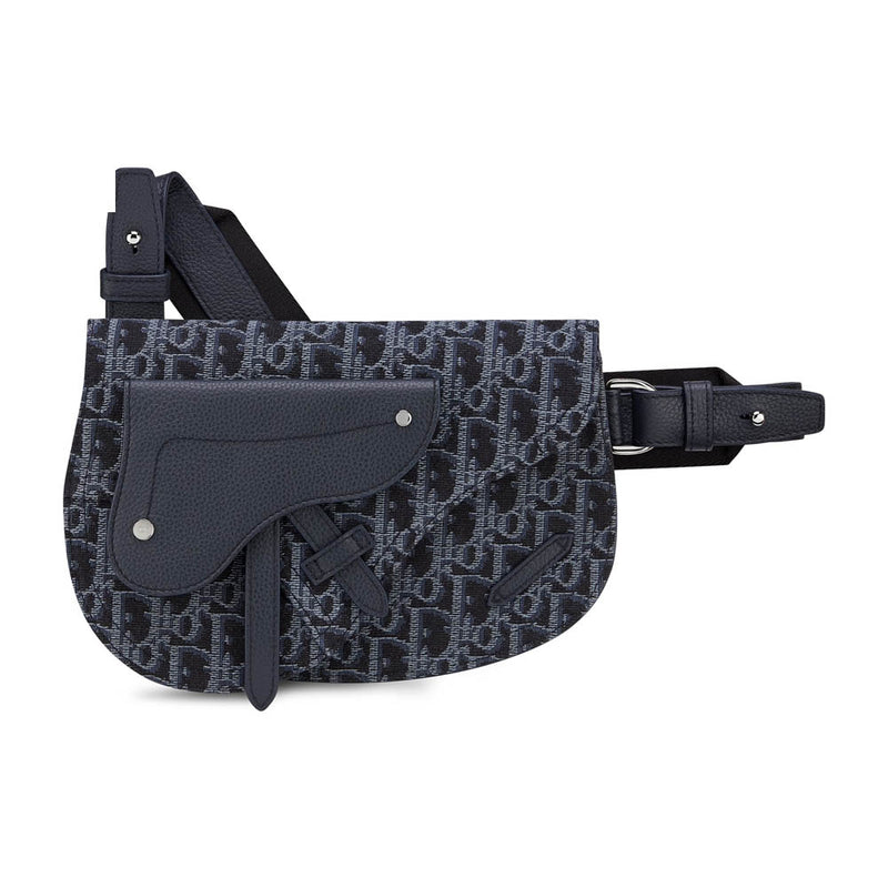BLUE DIOR OBLIQUE JACQUARD SADDLE POUCH