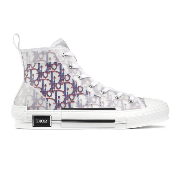 B23 HIGH-TOP SNEAKER IN BLUE & RED DIOR OBLIQUE