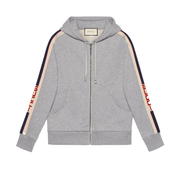 Hooded zip-up sweatshirt with Gucci stripe