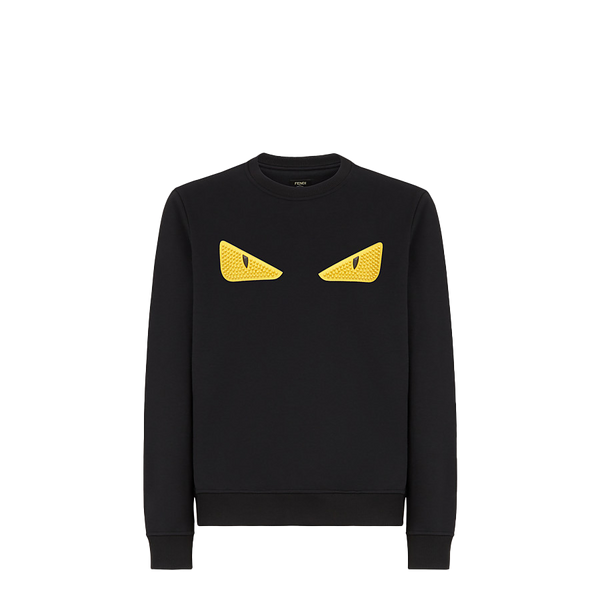 Black wool and cotton sweatshirt