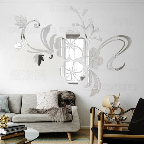 Decorative 3D Flower Mirror Wall Sticker