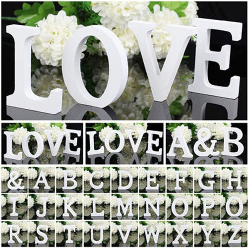 Decorative White Wooden Letters