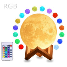 Load image into Gallery viewer, Moon Lamp Night Light 2/3 or 16 Color Variety - 16 colors remote / Moon 10cm