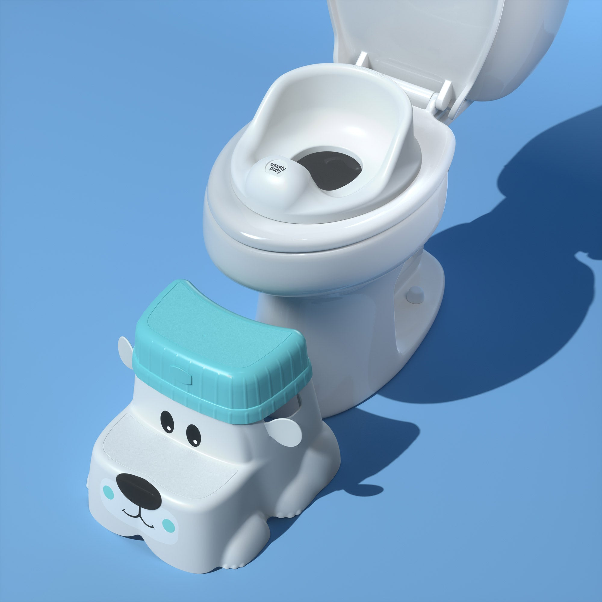 Potty Pet's Bear in front of toilet