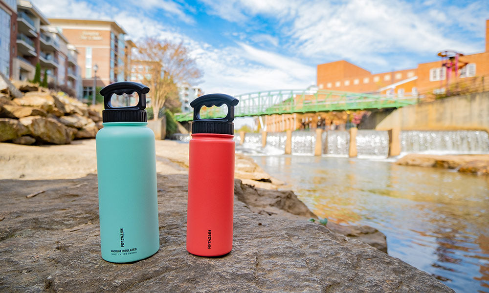 Fifty Fifty 3 Finger Vacuum Insulated Water Bottle | Best Travel Water Bottle
