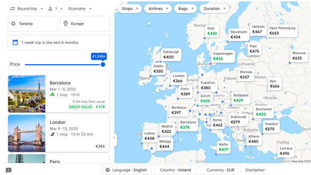 How to Find Cheap Flight with Google Flights Flexible Destinations