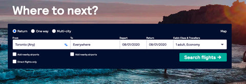 Book Cheap Flights with Skyscanner Flexible Destinations Searches