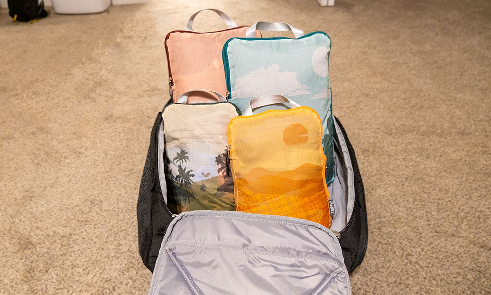 Tripped Travel Compression Packing Cubes