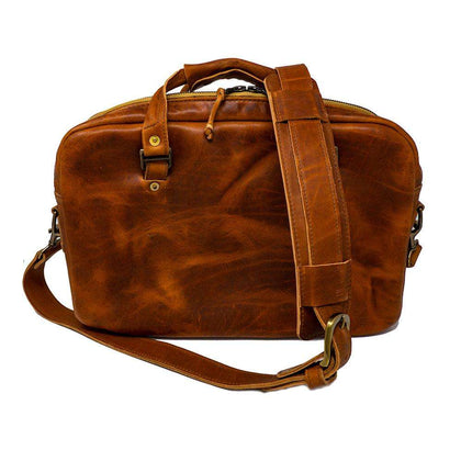 Jack Foster Caramel Harness Slim Leather Briefcase | Travel Bags | Flashpacker Co
