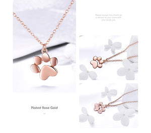 Genuine 925 Sterling Silver Cute Paw Necklaces