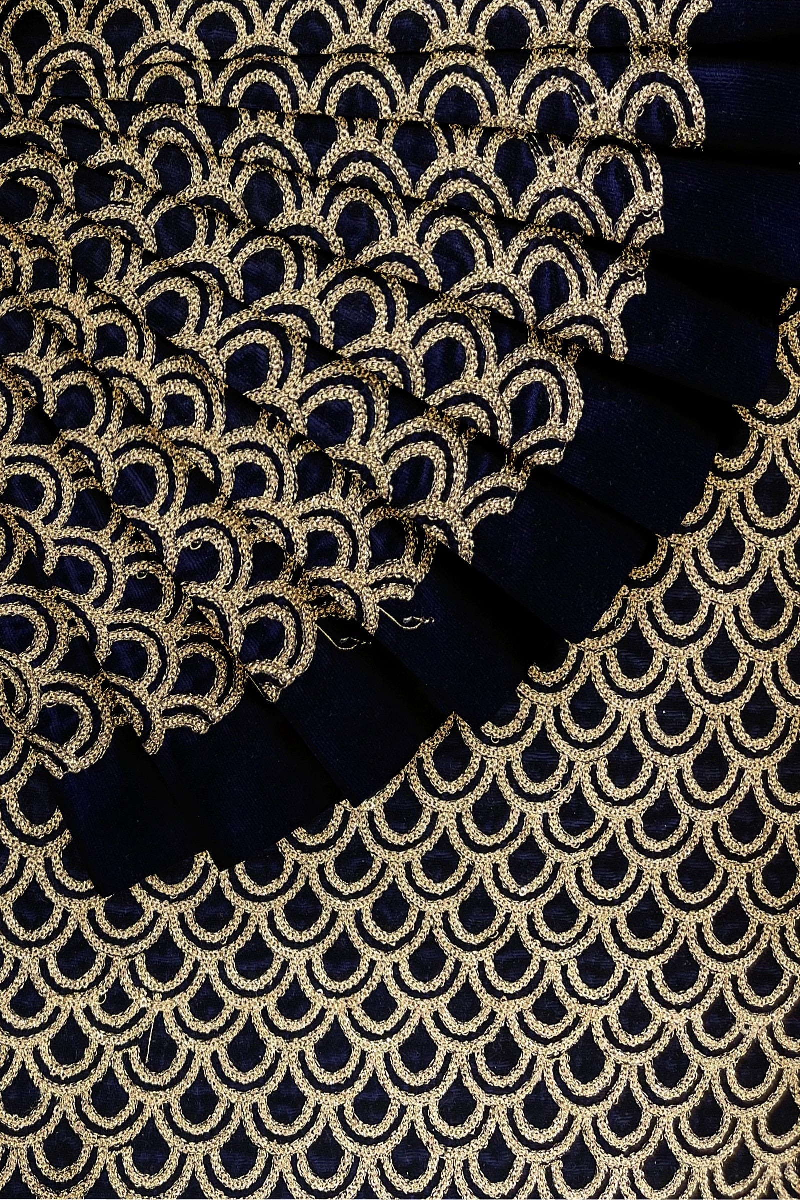 Navy Blue Embroidered Velvet