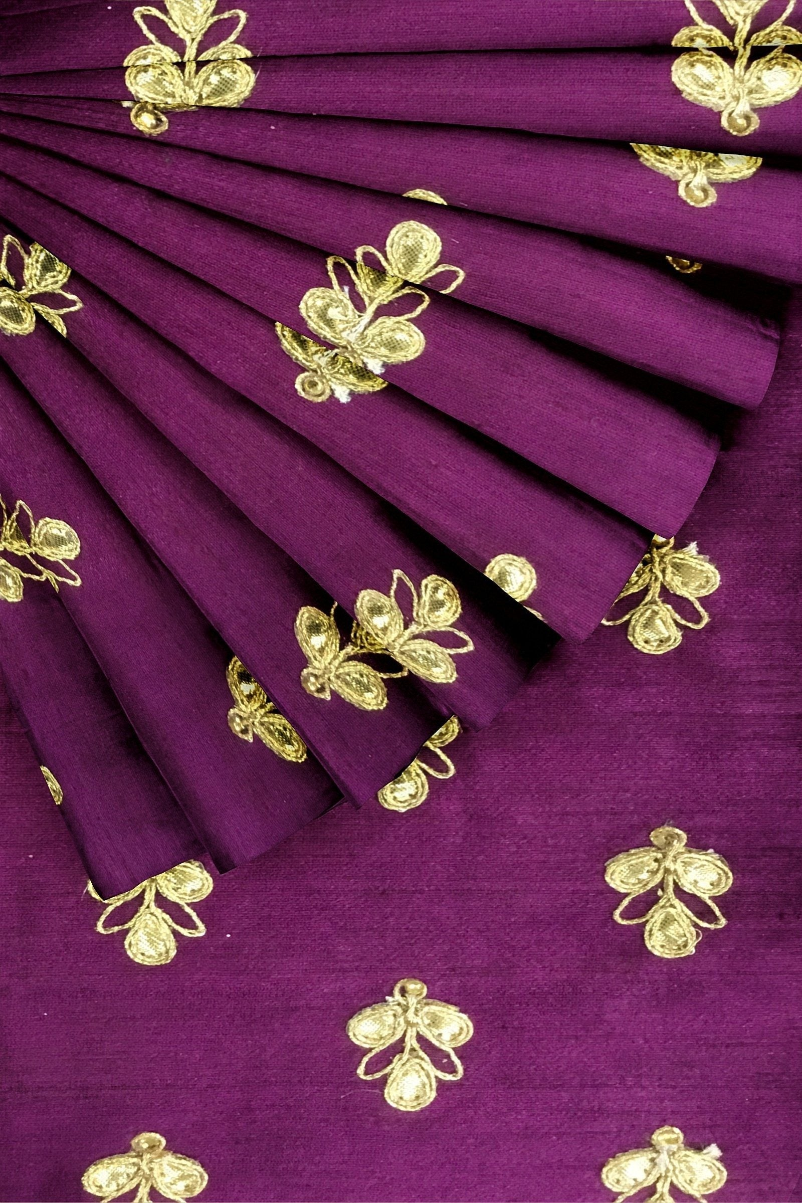 Purple Embroidered Raw Silk 44""
