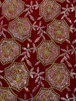 Load image into Gallery viewer, Red Embroidered Velvet