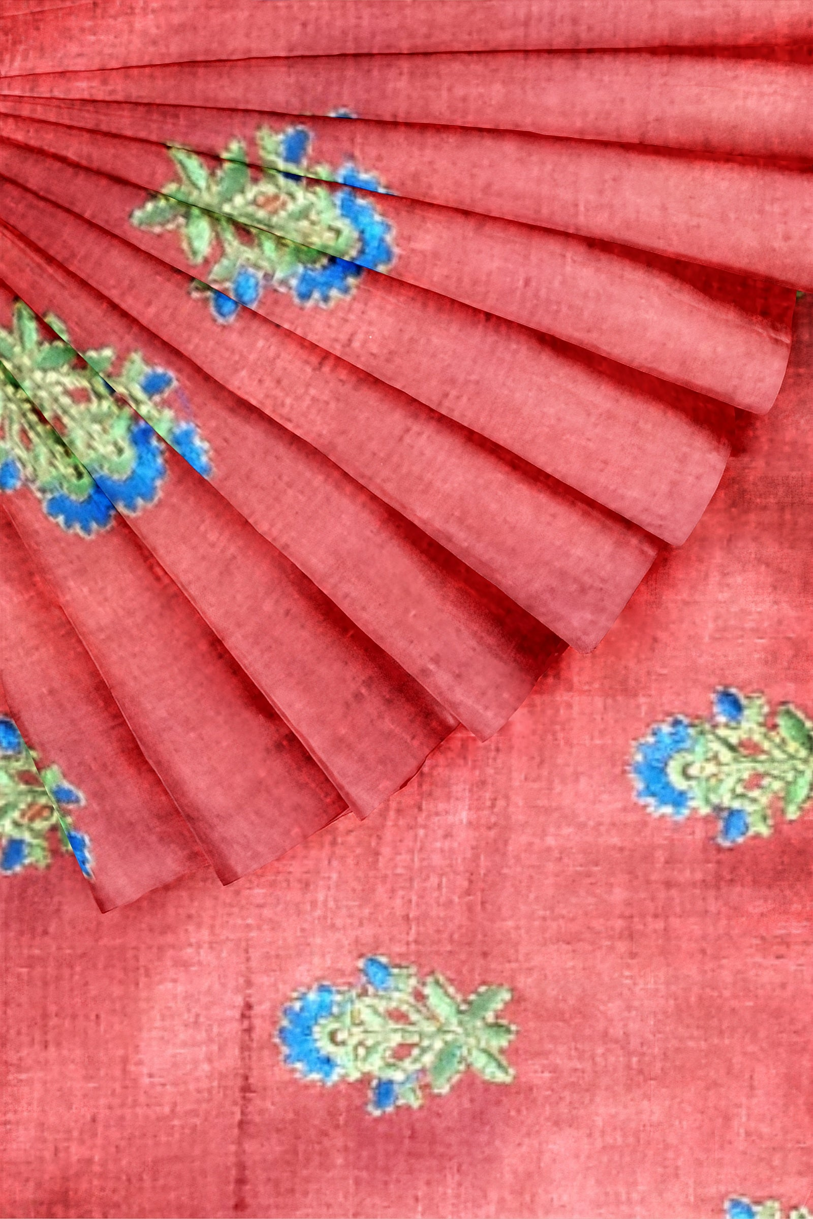 Pink Embroidered Tussar 44""