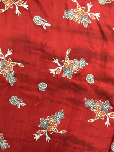 Red Printed Silk 44""