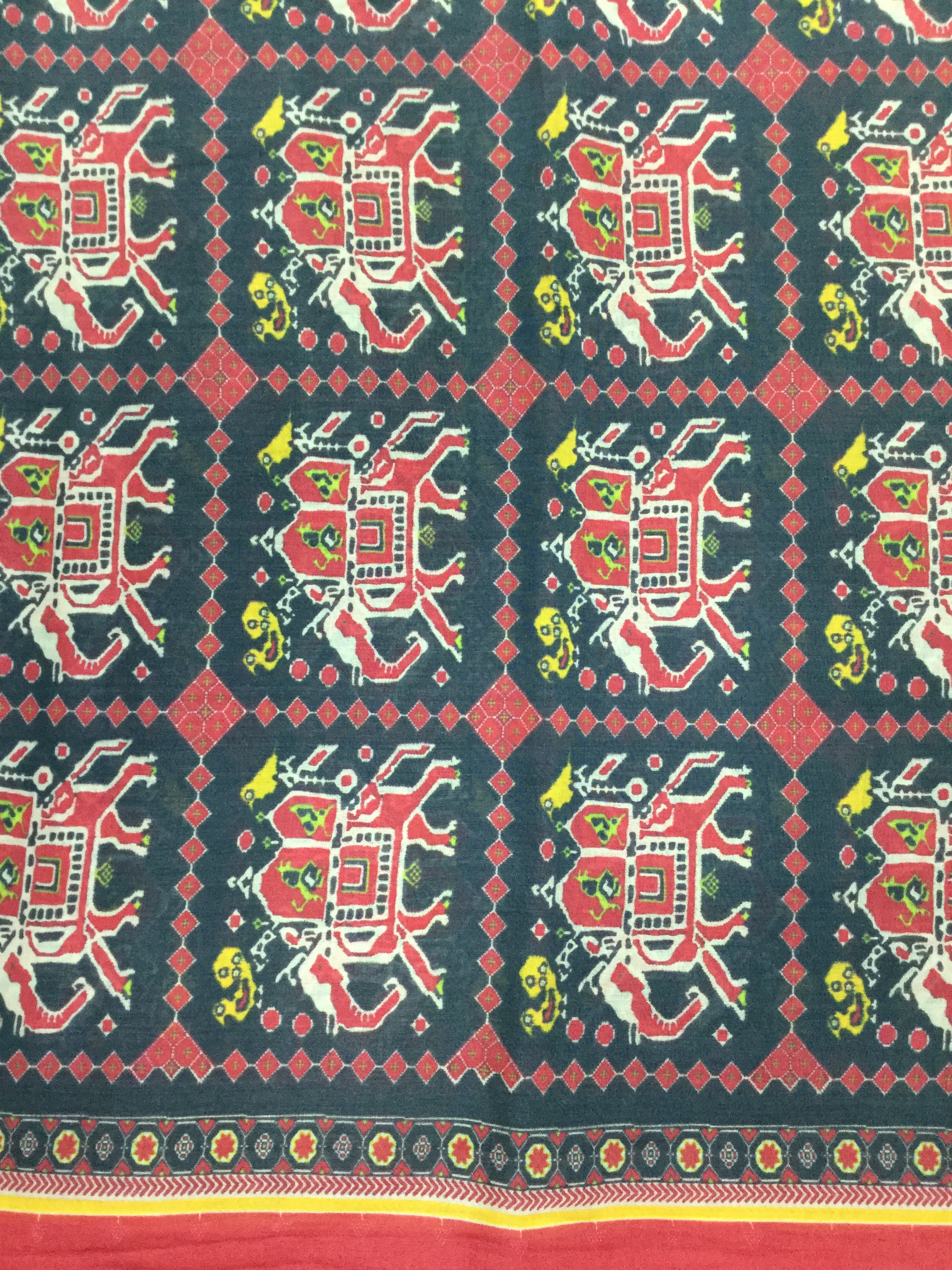 Black Printed Chanderi Cotton 44""
