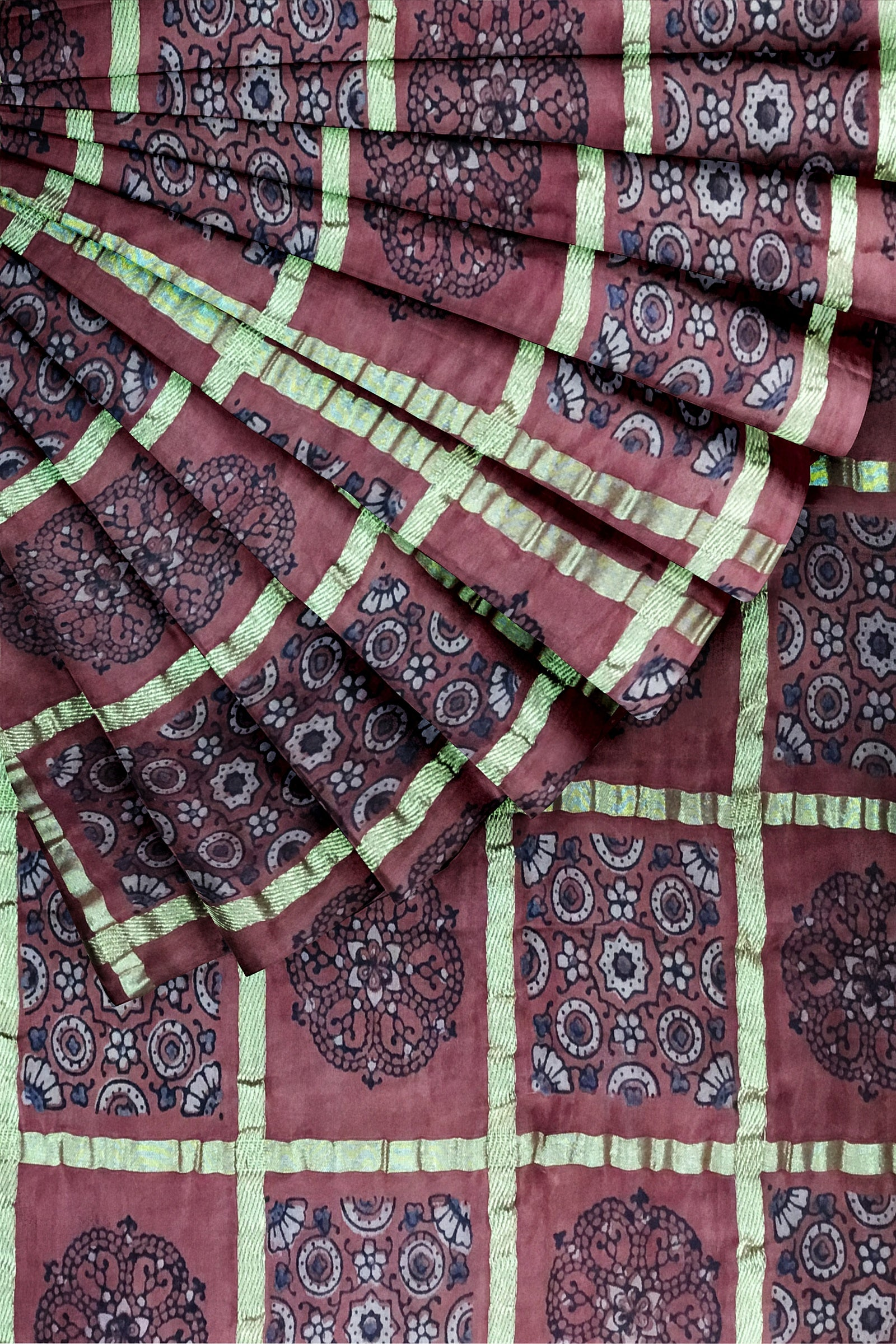 Red Ajrakh Print Cotton Satin