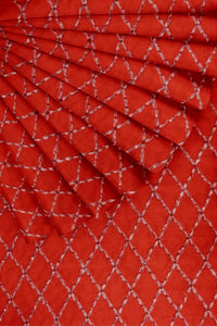 Red Embroidered Cotton 44""