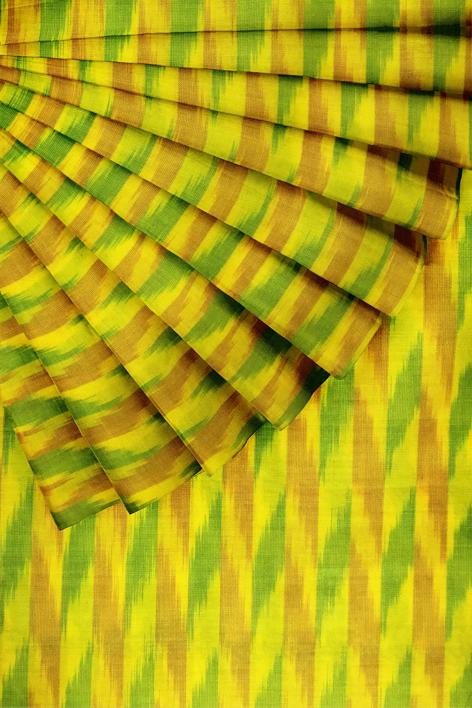 Yellow Ikkat Cotton Silk 44""