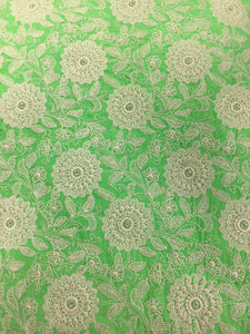 Green Embroidered Silk