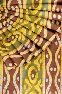 Brown Printed Cotton Satin