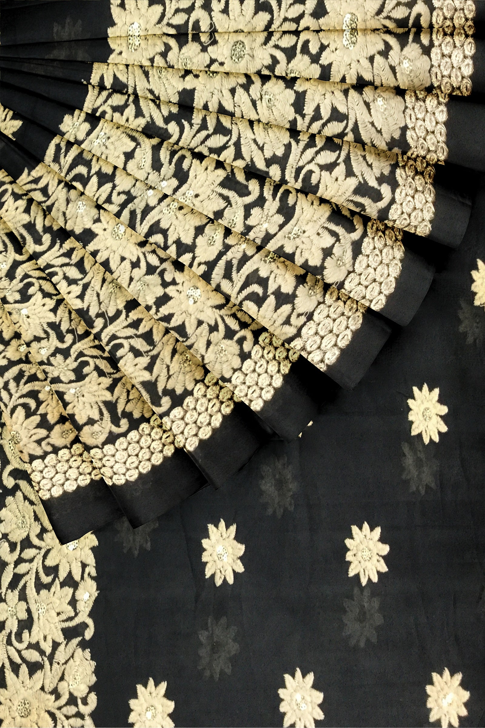 Black Embroidered Georgette